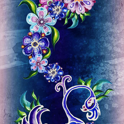 Bird of Dream with Flowers