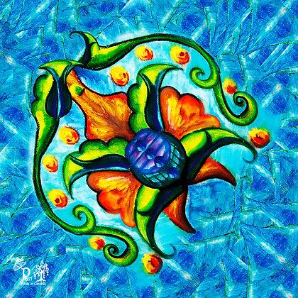 Blue Persian Flower Silk Scarf