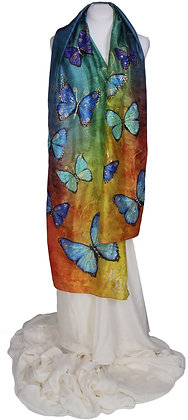 Dancing Butterflies on the Rainbow Hand Painted Silk Scarf