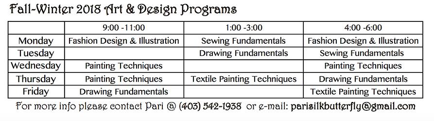 time table-Fashion Design lesson - Sewin