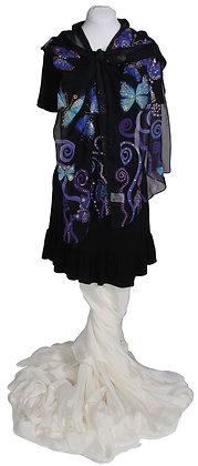 Purple & Blue Butterflies on Black Hand Painted Silk Scarf