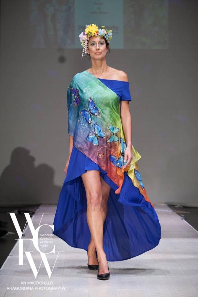 Hand painted silk scarf-Pari Chehrehsa - Designer Scarf- Canada 201870