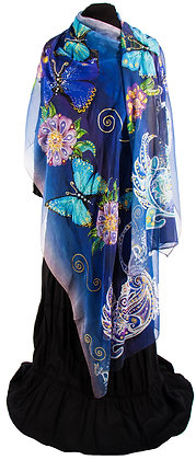 Bird of Dream and the Butterflies in Silk Georgette