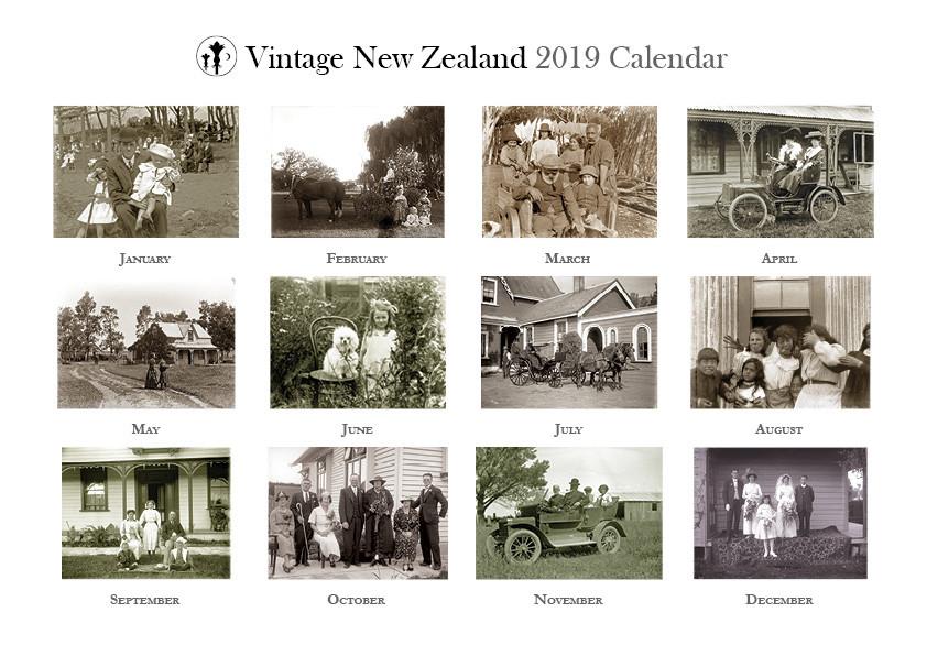 Vintage New Zealand 2019 Calendar Back Cover