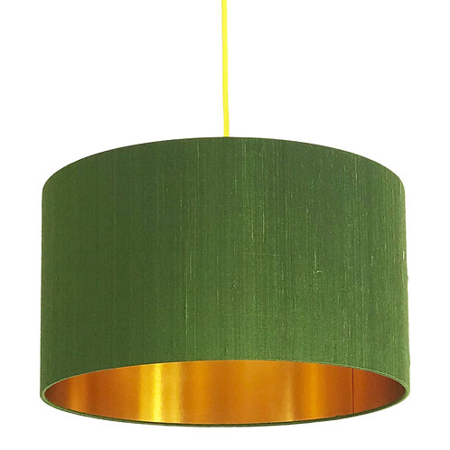 Indian Silk Lampshade in Green Moss with Gold Lining