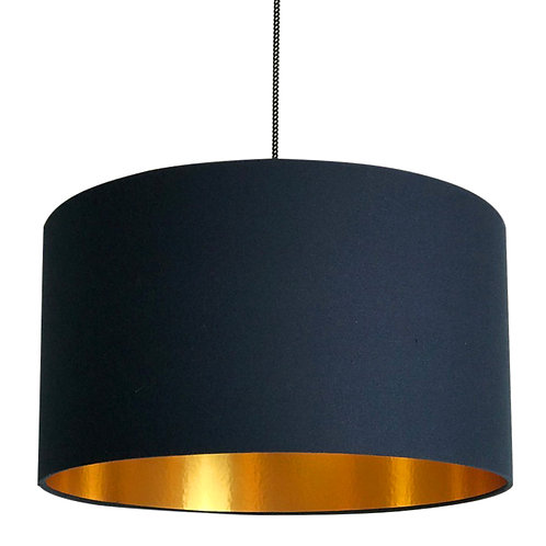 Deep Space Navy Lampshade with Gold Lining