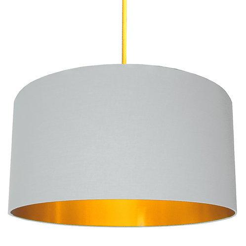 Cloud Grey Cotton Lampshade with Gold Lining