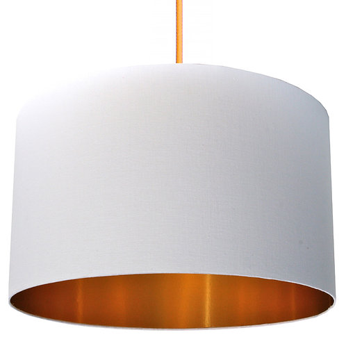 Whiter Than White Cotton Lampshade with Gold Lining