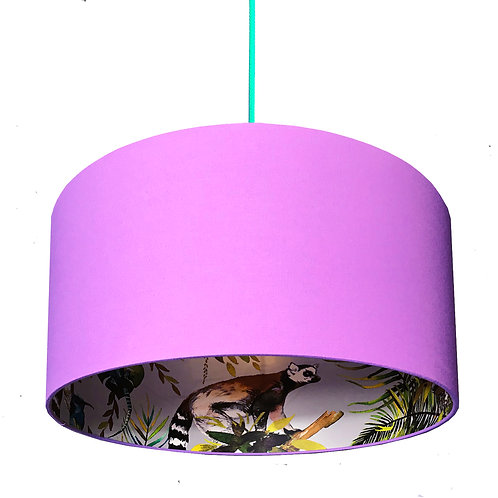 Silver Lemur Silhouette Lampshade in Lilac