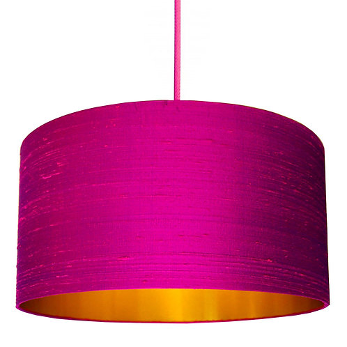 Indian Silk Lampshade in Hot Pink with Gold Lining
