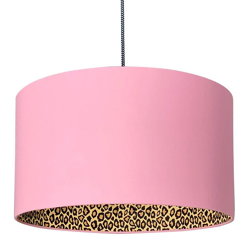 Leopard Print Silhouette Lampshade in Dirty Pink Cotton