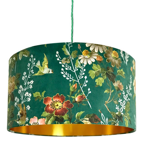 Floral Forest Green Lampshade with Gold Lining