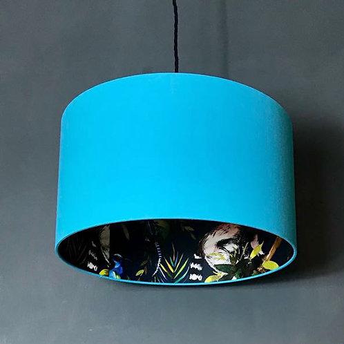 Midnight Blue Lemur Silhouette Lampshade in Sky Blue