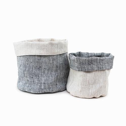 Grey Reversible Linen Storage Basket