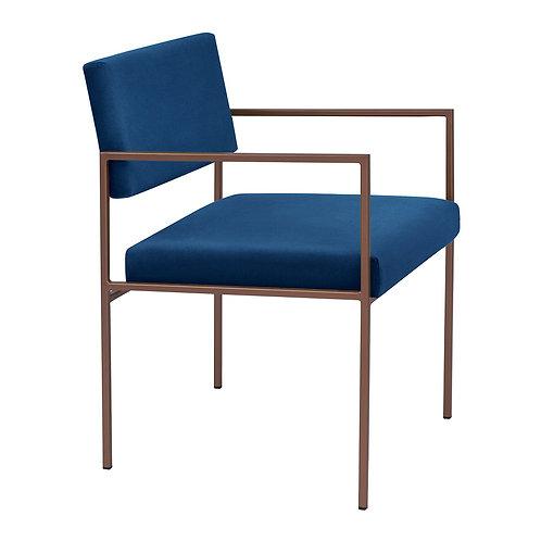 Cube Dining Armchair  - Velvet Royal Blue