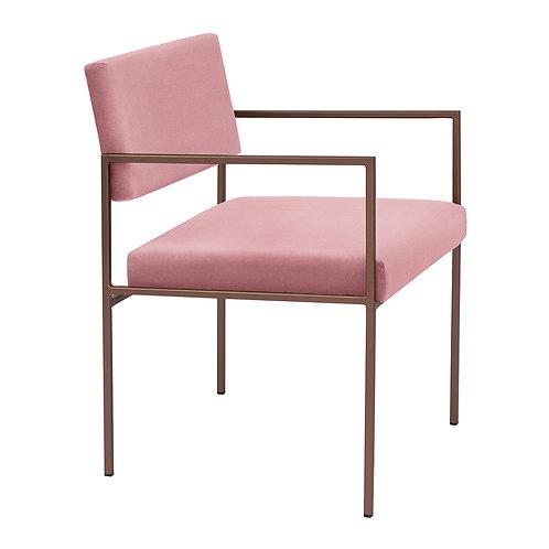 Cube Dining Armchair  - Velvet Pink