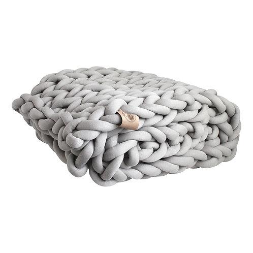 Silver Grey Chunky Knit Throw