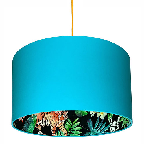 Moonlight Jungle Silhouette Lampshade in Sky Blue Cotton