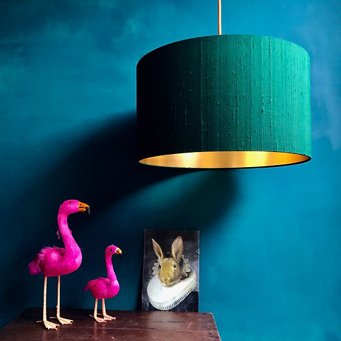 Indian Silk Lampshade in Forest Green with Gold Lining