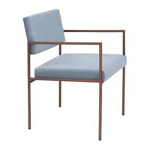 Cube Dining Armchair  - Velvet Ice Grey