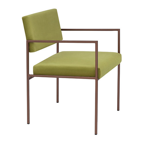 Cube Dining Armchair  - Velvet Apple Green