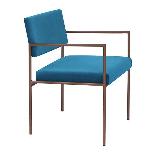 Cube Dining Armchair  - Velvet Ocean Blue