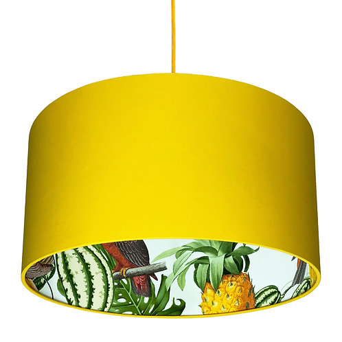 Pineapple Jungle Silhouette Lampshade in Egg Yolk Cotton