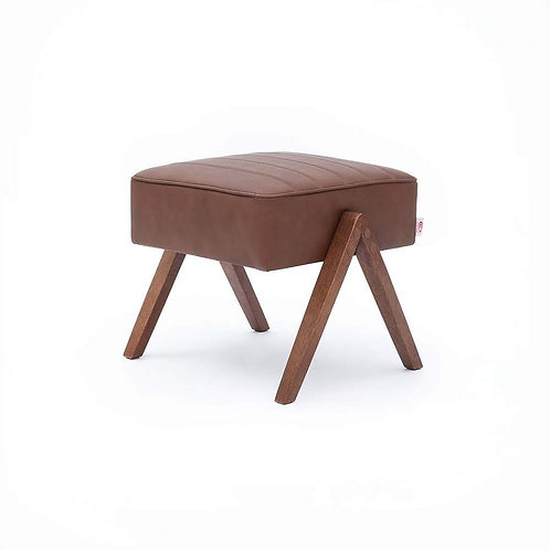 Retrostar Footstool - Brown Leather