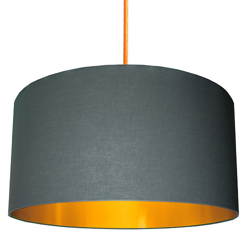 Slate Grey Lampshade with Gold Lining