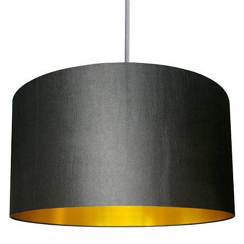 Gunmetal Grey Lampshade with Gold Lining