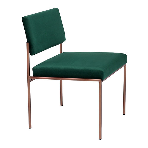 Cube Dining Chair - Velvet Hunter Green