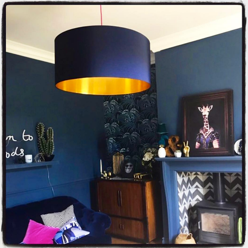 Midnight Blue Lampshade with Gold Lining