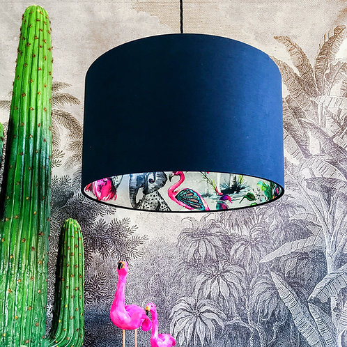 Grey Chimiracle Wallpaper Silhouette Lampshade in Deep Space Navy