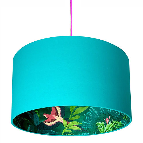 Bird of Paradise Silhouette Lampshade in Jade Green Cotton