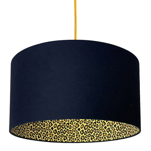 Leopard Print Silhouette Lampshade in Deep Space Navy Cotton