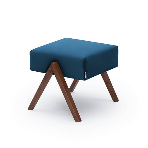 Retrostar Footstool - Velvet Royal Blue