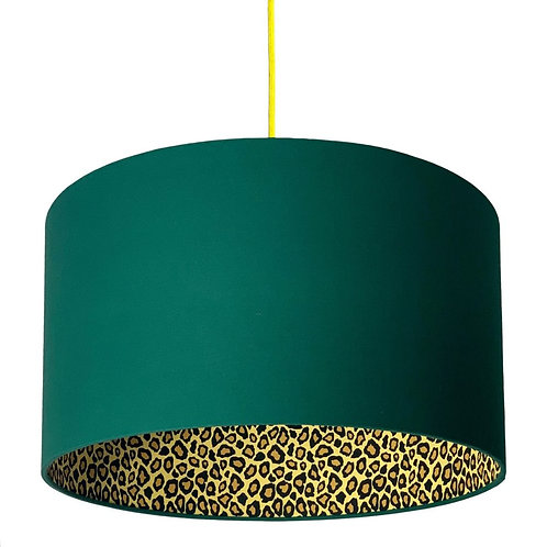 Leopard Print Silhouette Lampshade in Hunter Green Cotton