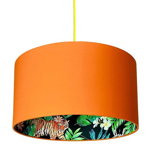 Moonlight Jungle Silhouette Lampshade in Tangerine Orange Cotton