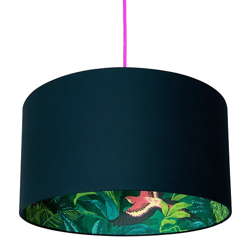 Bird of Paradise Silhouette Lampshade in Deep Space Navy Cotton