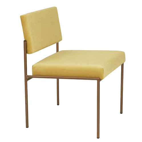 Cube Dining Chair - Velvet Yellow