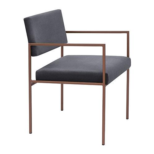 Cube Dining Armchair  - Velvet Grey