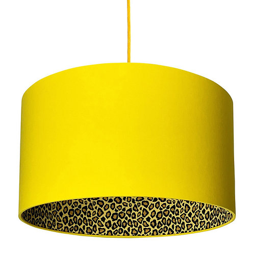 Leopard Print Silhouette Lampshade in Banana Yellow Cotton