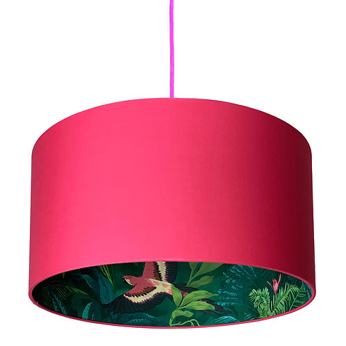 Bird of Paradise Silhouette Lampshade in Watermelon Pink Cotton