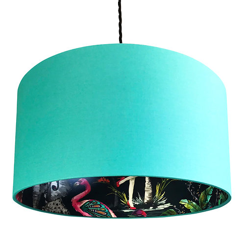 Midnight Chimiracle Wallpaper Silhouette Lampshade in Jade Green