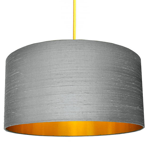 Indian Silk Lampshade in Ash Grey with Gold Lining
