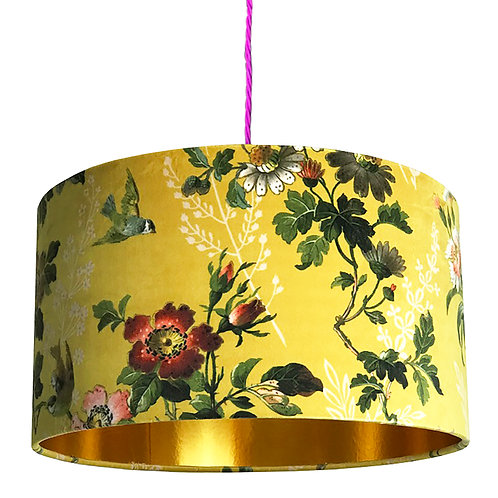 Floral Mustard Yellow Lampshade with Gold Lining