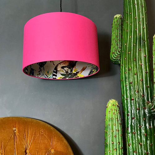 Silver Lemur Silhouette Lampshade in Bubblegum Pink