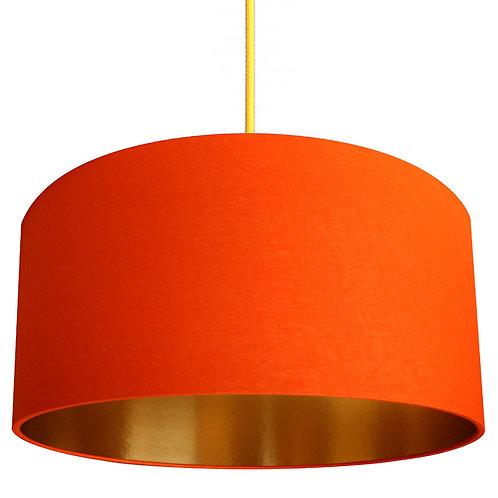 Tangerine Orange Lampshade with Gold Lining