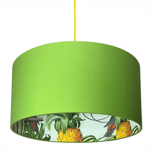 Pineapple Jungle Silhouette Lampshade in Chartreuse Green Cotton