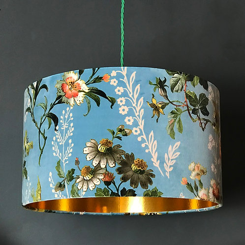Floral Duck Egg Lampshade with Gold Lining